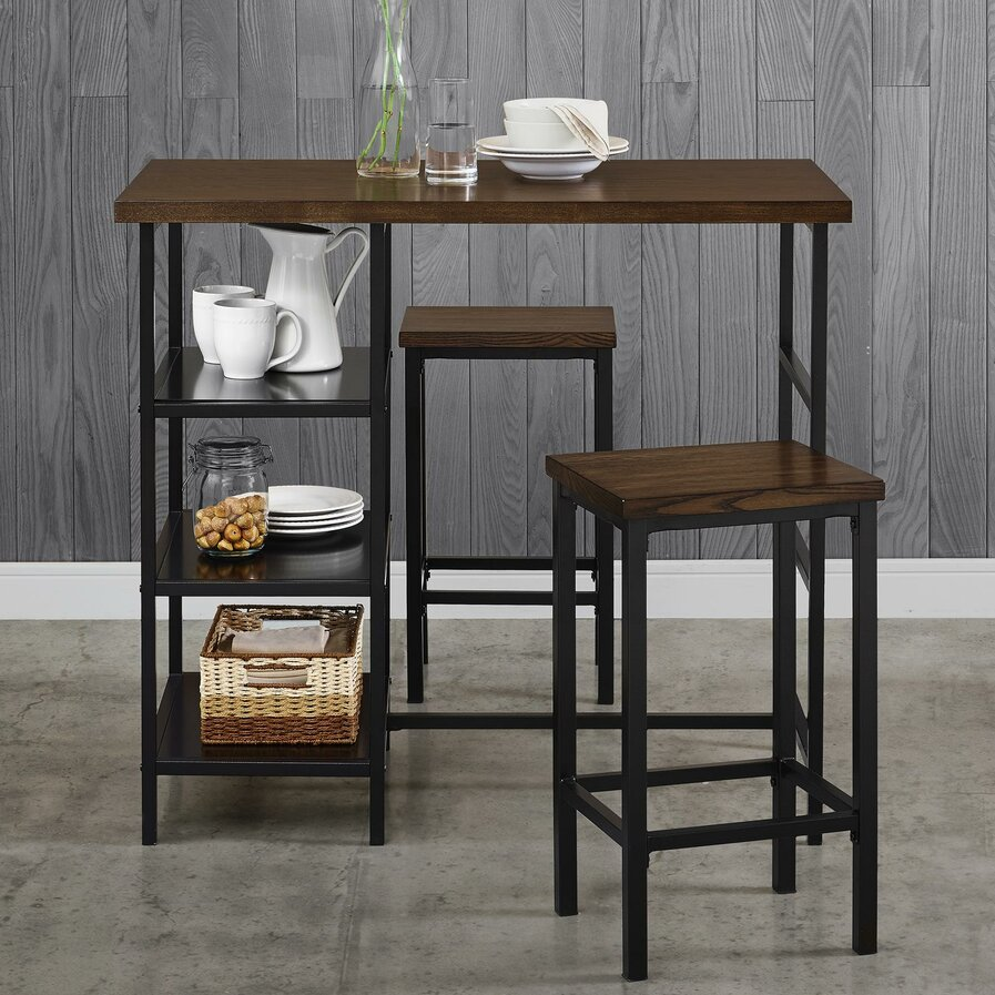 amerihome retro style bar table set in black with padded vin