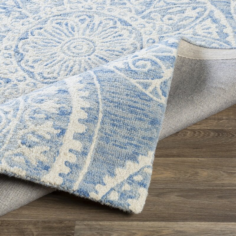 Bungalow Rose Hyer Handmade Tufted Wool Taupe Blue Gray Rug Wayfair