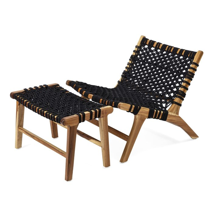 Astonishing Mccroy Woven Teak Lounge Chair And Ottoman Pabps2019 Chair Design Images Pabps2019Com