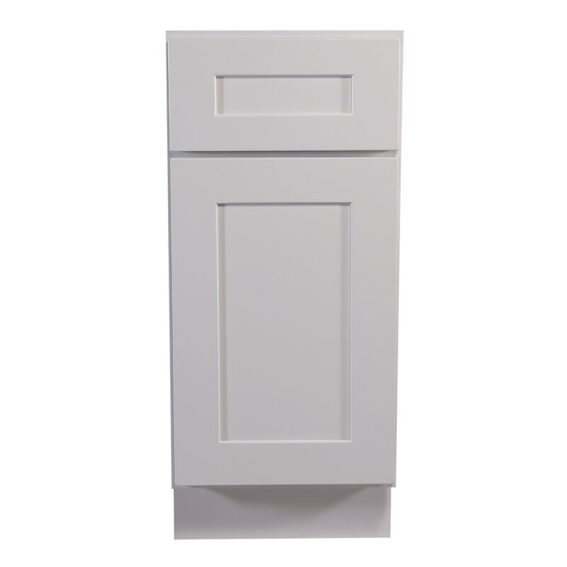 Ebern Designs Frits Ready To Assemble 15 X 34 5 X 24 In Base Cabinet Style 1 Door With 1 Drawer In White Wayfair