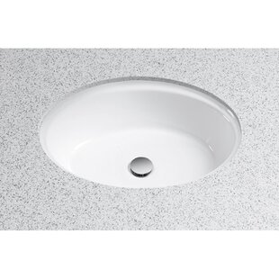 Waza Ceramic Oval Undermount Bathroom Sink with Overflow Toto