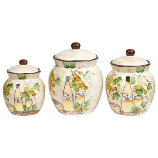 Grape Ceramic Deluxe 3 Piece Kitchen Canister Set