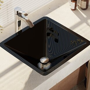 Glass Square Vessel Bathroom Sink with Faucet ByRené Elkay