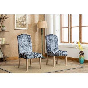 House of Hampton Wokefield Velvet Caen Nail Head Urban Ice Fabric Padded Parson Upholstered Dining Chair