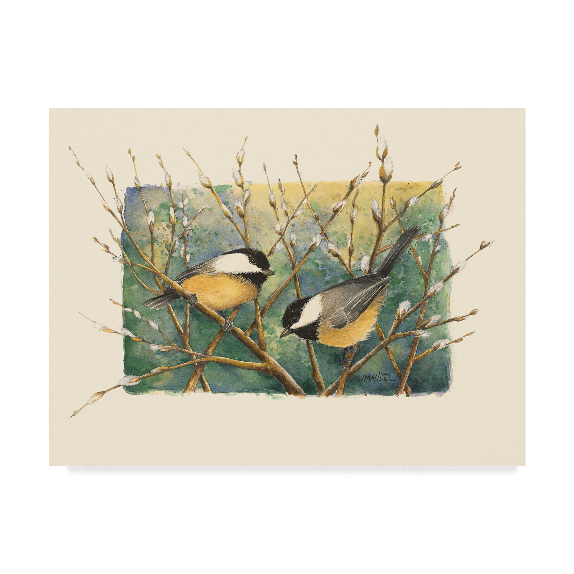 Charlton Home Chickadees And Pussy Willow Acrylic Painting Print On Wrapped Canvas Reviews Wayfair