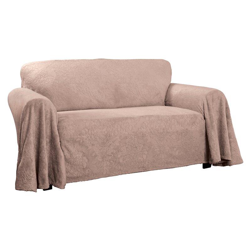 Plush Damask Throw Sofa Slipcover