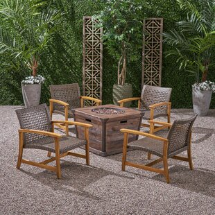 Veans Outdoor Wood and Wicker Club 5 Piece Multiple Chairs Seating Group Set