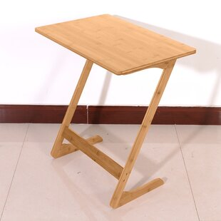 ZShaped Bamboo Sofa Side Table Sandal Wood Color 60X40x65cm