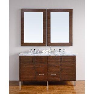 Cordie 60 Double American Walnut Wood Base Bathroom Vanity Set by Orren Ellis