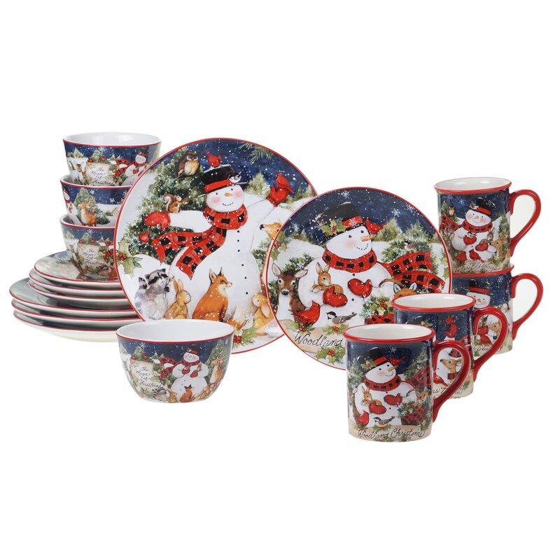 Brochard Magic of Christmas Snowman 16 Piece Dinnerware Set