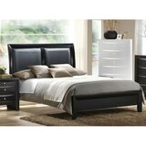Grizzled Wooden Cal.King Bed With Black PU-HB, Grey Finish