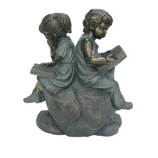 Hi-Line Gift Ltd. Two Kids Reading on a Stone Statue