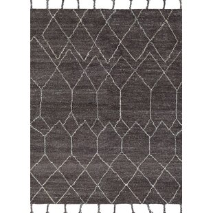Inexpensive Arnoldo Hand-Knotted Wool Black/White Area Rug By Foundry Select