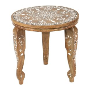 Rohan Elephant Leaves Wood End Table