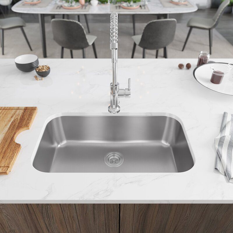 René 30 L X 18 W Undermount Kitchen Sink With Basket Strainer Wayfair