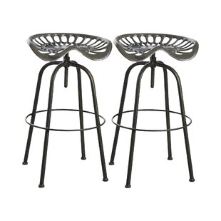 Review Bentonville Height Adjustable Swivel Bar Stool (Set Of 2)