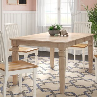 Adams Extendable Solid Wood Dining Table Rosecliff Heights