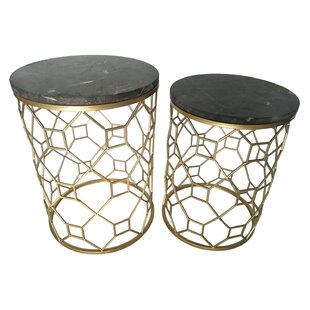 Ginder 2 Piece Metal Marble Top End Table