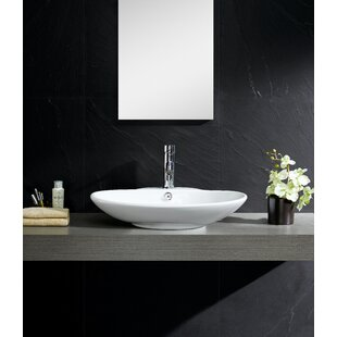 Affordable Price Modern Ceramic Oval Vessel Bathroom Sink with Overflow By Fine Fixtures
