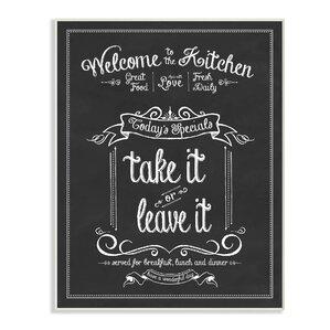 U0027Welcome To The Kitchen Chalkboardu0027 Textual Art Print On Wood. U0027