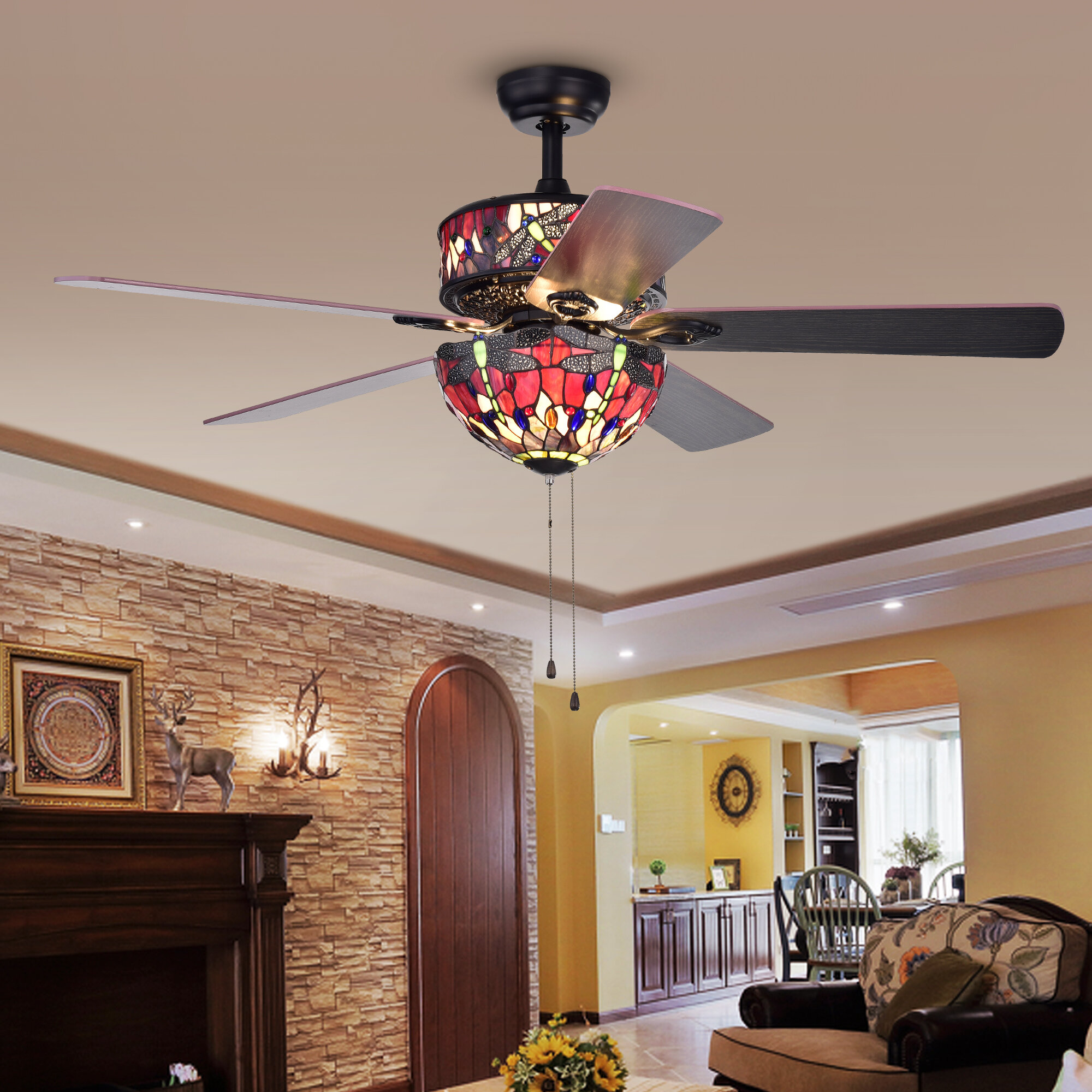 and without chandelier with hampton x full size control for ideas best sizing light fans bedroom within of remote bay amazon canada combo sale fan ceiling lights dining master