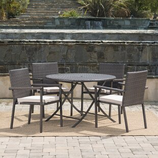 Brooke Outdoor Wicker 5 Piece Dining Set with Cushions