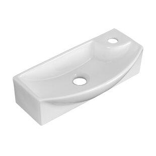 American Imaginations Ceramic Rectangular Vessel Bathroom Sink with Faucet