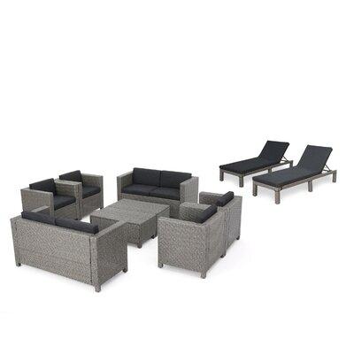 Furst Outdoor 10 Piece Rattan Sofa Set with Cushions Wade Logan