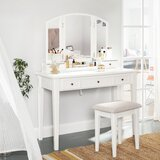 Amtul Vanity Set with Stool and Mirror by Red Barrel Studio®