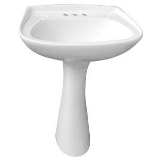 Barclay Hartford Vitreous China Circular Pedestal Bathroom Sink with Overf..