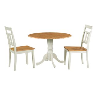 Shoaf 3 Piece Drop Leaf Solid Wood Dining Set August Grove