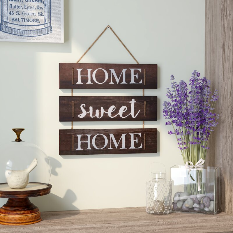 Home Sweet Hanging With Rope Wall Decor