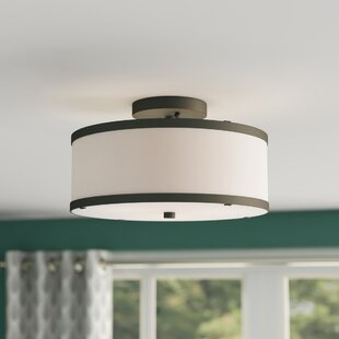 Cana Drum Cylinder Shade 2-Light Semi Flush Mount by Latitude Run