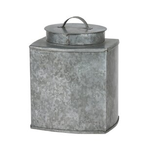 Best Price Galvanized Square Metal Container with Lid By Gracie Oaks