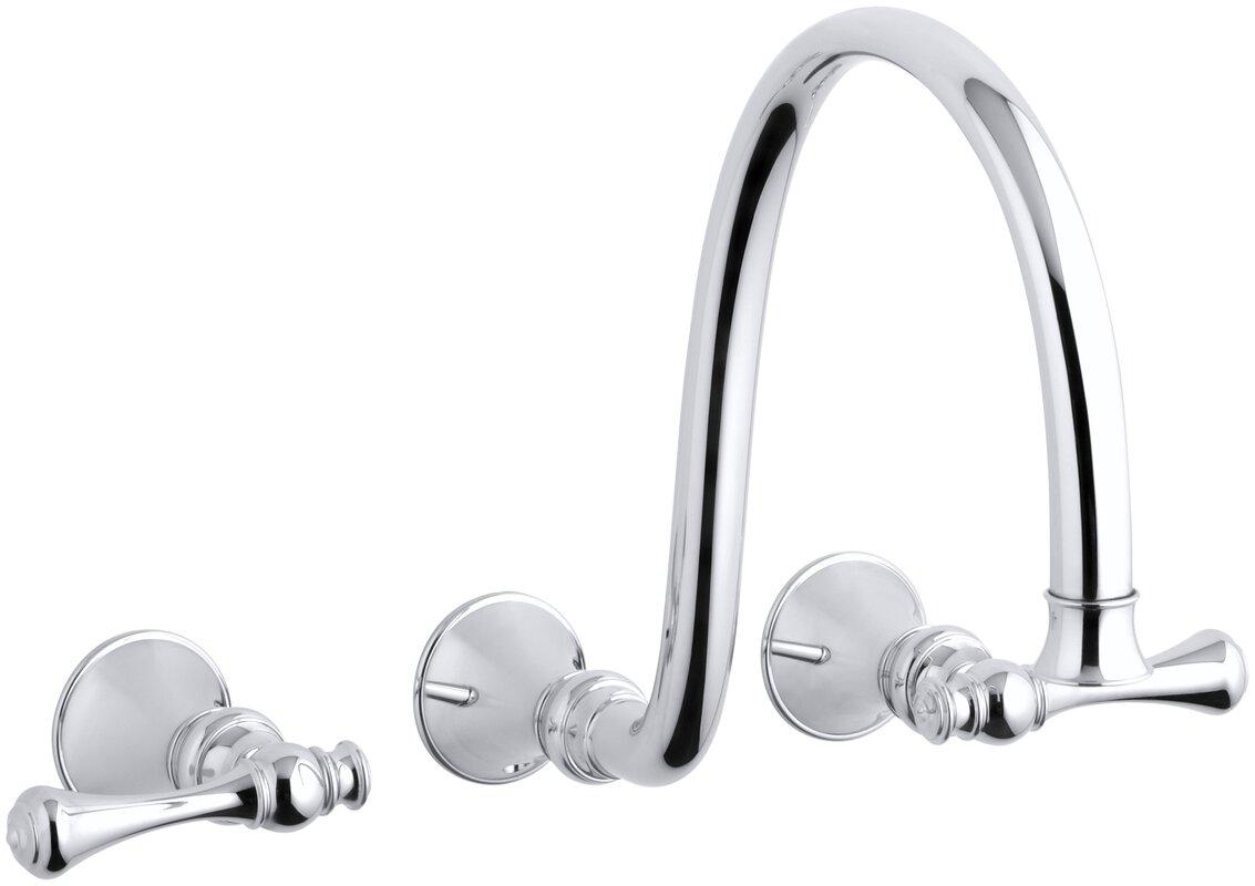 K-T16107-4A-BN,BV,CP Kohler Revival Wall-Mount Bathroom Sink Faucet ...