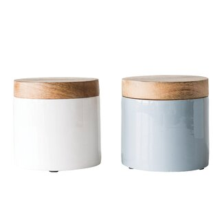 Enameled Mango Wood 2 qt. Kitchen Canister (Set of 2)