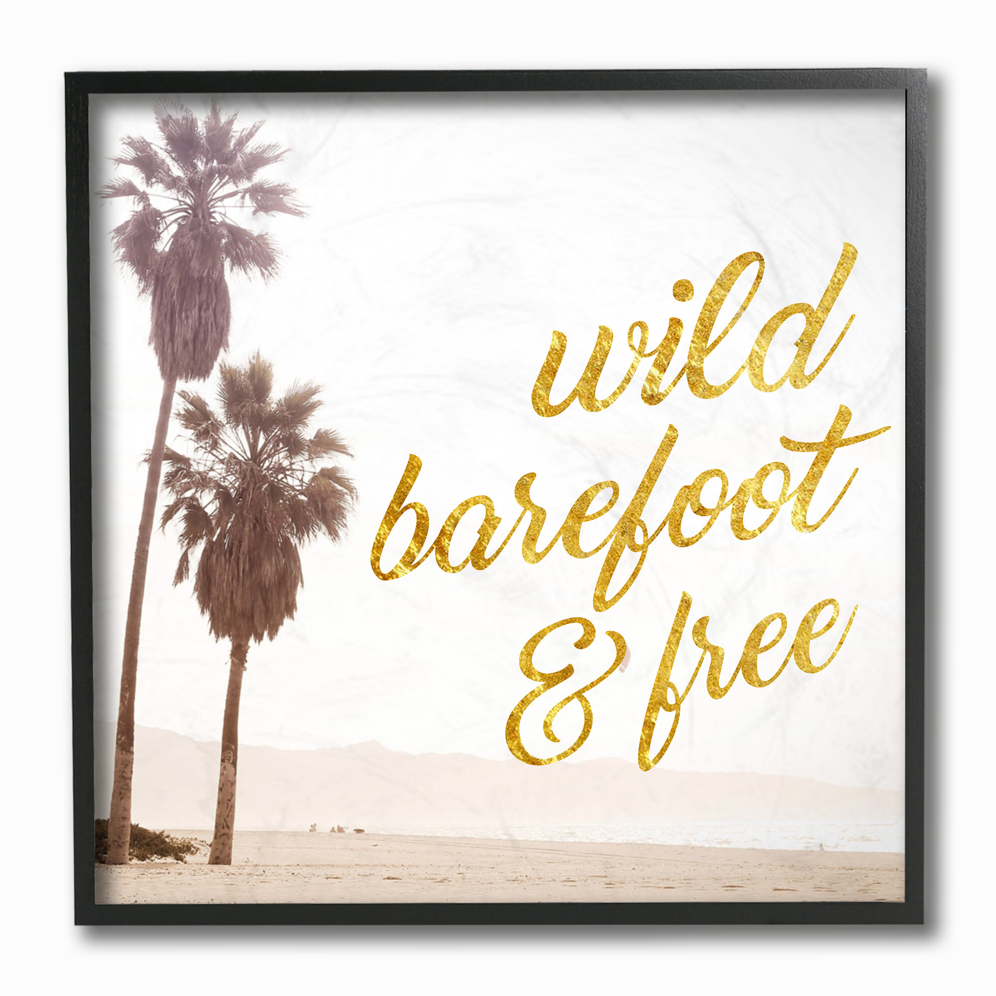 24 x 1.5 x 24 Proudly Made in USA Stupell Home D/écor Wild Barefoot and Free Cursive Typography Stretched Canvas Wall Art