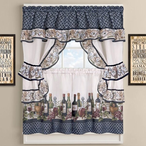 Sweet Home Collection Chateau Wines Cottage Kitchen Curtains Reviews Wayfair Ca
