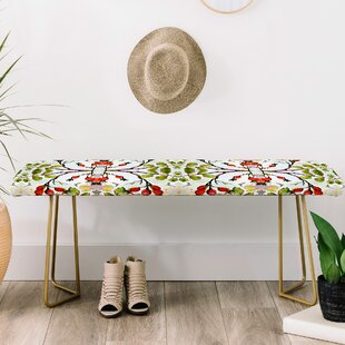 Ginette Fine Art Rose Hips and Bees Upholstered Bench