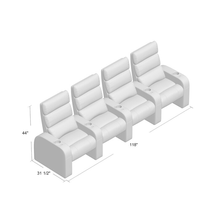 Manual Design Rocker Recline Home Theater Row Seating Row Of 4
