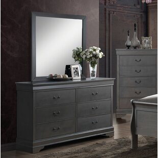 Alcott Hill Farrelly Contemporary 6 Drawer Double Dresser with Mirror