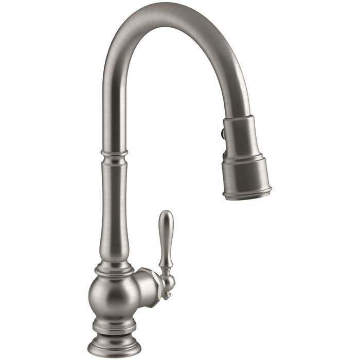 Artifacts Single-Hole Kitchen Sink Faucet with Pull-Down Spout and  BerrySoft™, MasterClean™,ProMotion™, DockNetik® Technologies