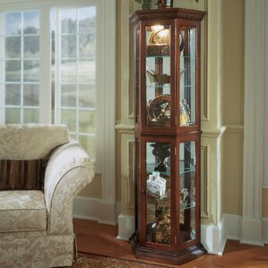 Hollingdon Lighted Corner Curio Cabinet b..