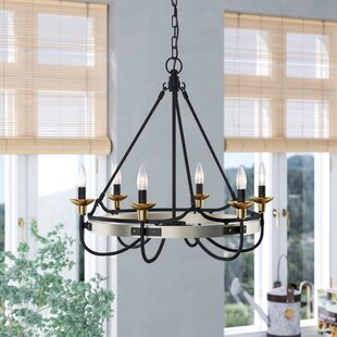 Gracie Oaks JMill 6-Light Wagon Wheel Chandelier