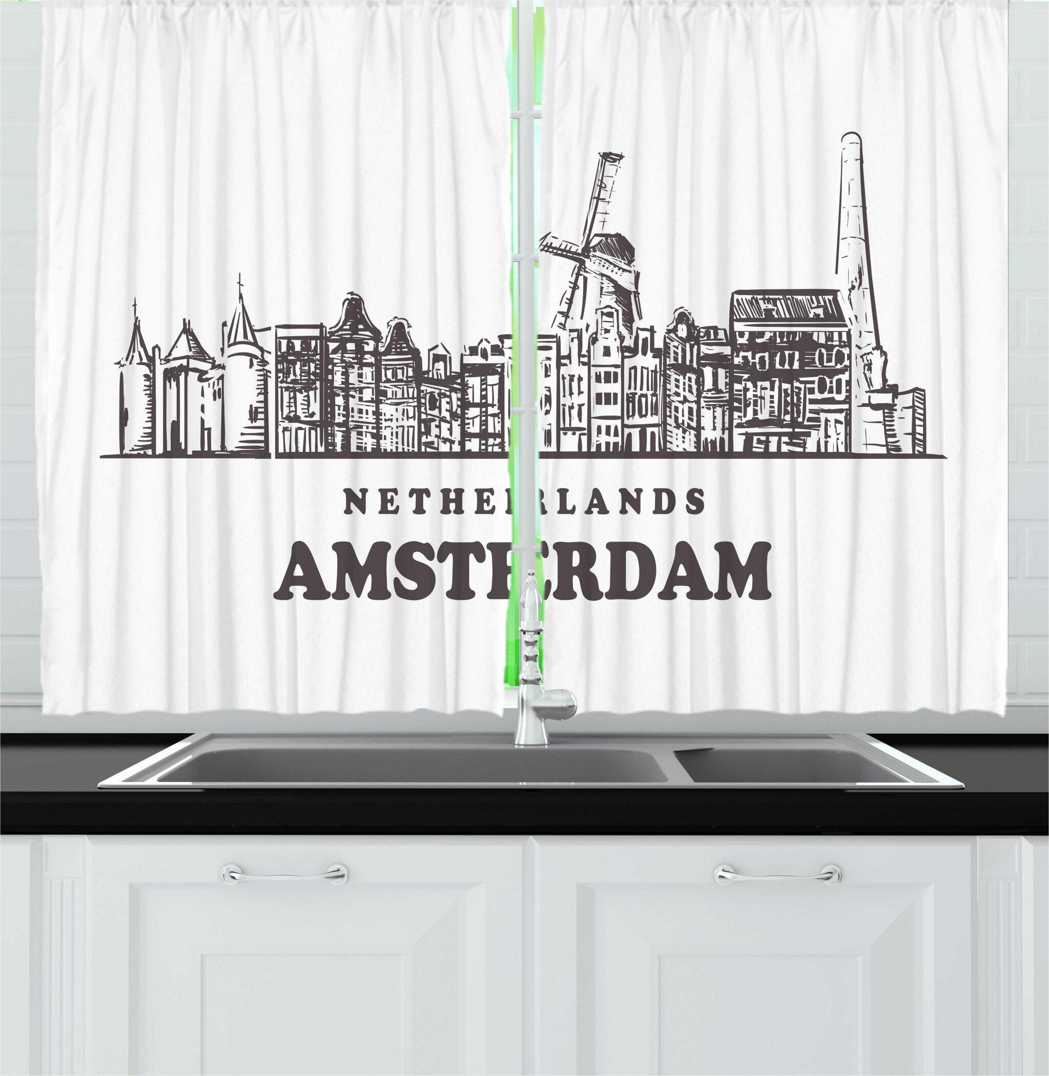 East Urban Home 2 Piece Amsterdam Netherlands Calligraphy And Horizontal City Skyline On A Plain Background Kitchen Curtain Set Wayfair