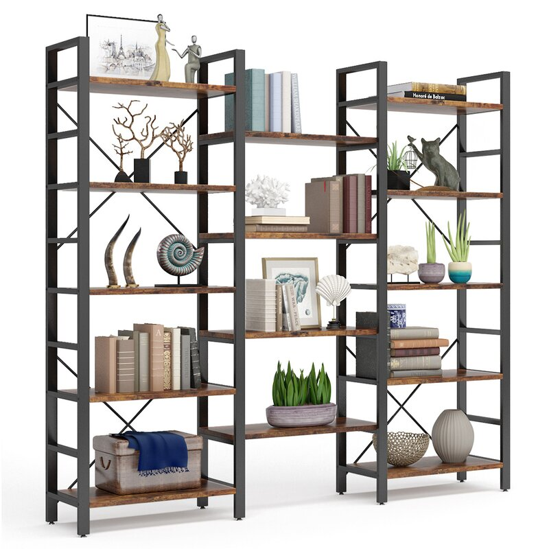 17 Stories Kuster 69 68 H X 70 68 W Metal Etagere Bookcase Reviews Wayfair