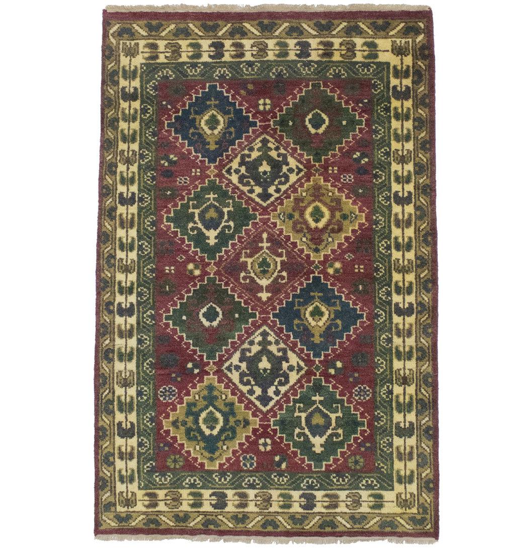 World Menagerie Anticur Tribal Karajeh Oriental Hand Knotted Wool Red Green Area Rug Wayfair