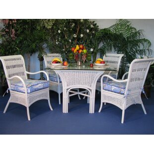 Spice Islands Wicker Regatta 5 Piece Dining Set