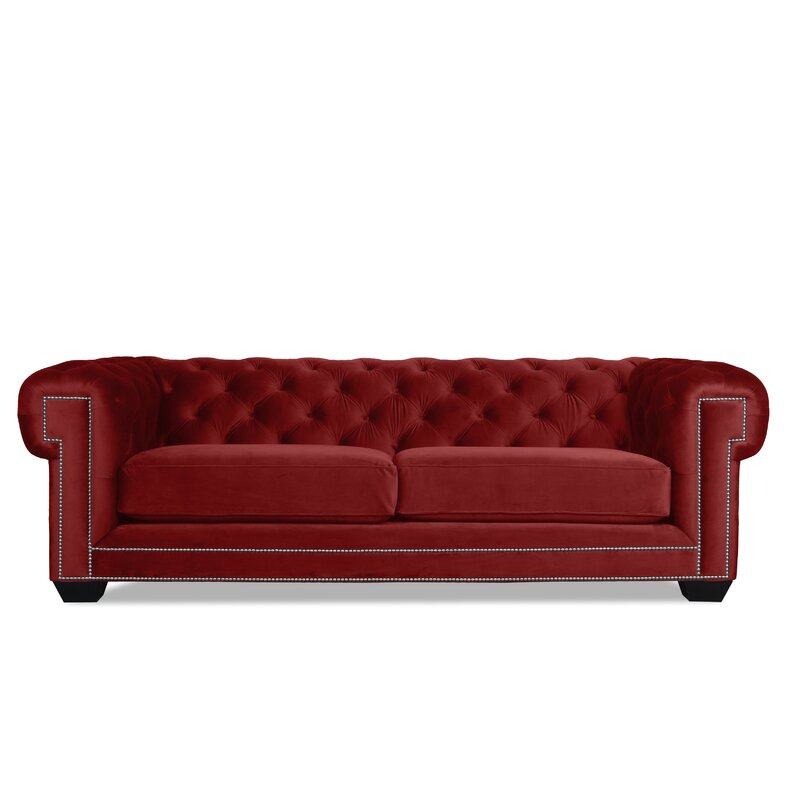 Rosdorf Park Atticus Velvet Chesterfield 90 Rolled Arm Sofa Wayfair