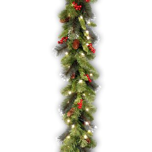 9 foot spruce pre lit faux garland with 50 clear lights - Banister Christmas Garland Decor